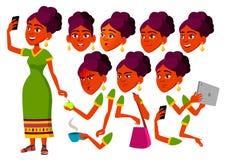 Nastoletni dziewczyna wektor Indianin, Hinduski nastolatek Czas wolny, uśmiech azjaci Twarzy emocje, Różnorodni gesty Animaci two ilustracji