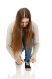 Nastoletni kobieta krawata buty Obrazy Royalty Free