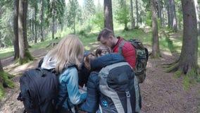 Nastoletni przyjaciół podróżnicy patrzeje mapę planuje trekking i przygoda w lasowym pojęciu przez lasu wycieczkować - zbiory