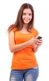 Nastoletni używać telefon komórkowy obraz royalty free