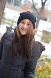 Nastoletni w śniegu Zdjęcia Royalty Free