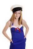 Nastoletnia dziewczyna jest ubranym żeglarza kostiumu modę Fotografia Stock