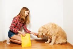 Nastoletnia dziewczyna karmi jej golden retriever doggy obraz stock