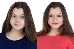 Nastoletnia dziewczyna przed i po uzupełniał Zdjęcia Royalty Free
