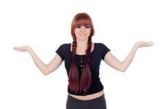 Nastoletnia dziewczyna ubierał w czerni z przebijanie szeroko rozpościerać ręki Zdjęcie Royalty Free