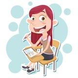 Nastoletnia dziewczyna uczeń siedzi na odczytowym krześle Obraz Royalty Free