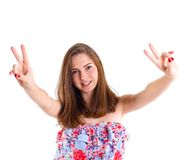 Nastoletnia dziewczyna w studiu obraz royalty free
