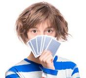 Nastoletnia dziewczyna z hazard kartami zdjęcia stock