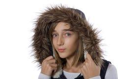 nastoletnia dziewczyny futerkowa kurtka Obrazy Stock
