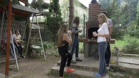 Nastoletnia grupa przyjaciele przy grilla przyjęciem relaksuje i rozwesela z piwnych szkieł pobliskim grillem w podwórku - zbiory