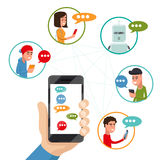 Nastoletnia przyjaciel gadka na telefonie Wektorowy życzliwy dyskutuje przesyłanie wiadomości smartphone w mieszkanie stylu Obraz Stock