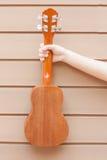 Nastoletnie azjatykcie kobiety z ukulele w jej czasie wolnym Zdjęcia Stock