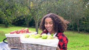 Nastoletniej dziewczyny młodej kobiety przewożenia kosz jabłka przez pogodnego jabłczanego sadu zbiory