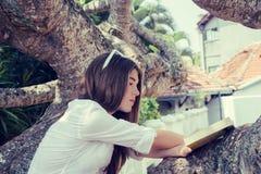 Nastoletniej dziewczyny obsiadanie na dużym drzewie obraz stock