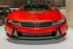Nastrajać BMW E8 przy AC Schnitzer stojakiem przy Lemańskim Międzynarodowym Motorowym przedstawieniem Fotografia Stock