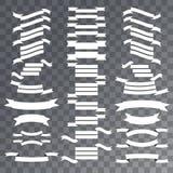 Nastri in bianco messi Etichette di caduta su fondo trasparente Immagini Stock Libere da Diritti