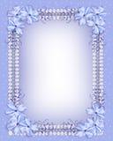 Nastri blu del percalle del bordo dei fiori Fotografia Stock