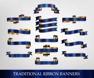 Nastri blu e bandiere Fotografia Stock
