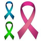 Nastri con i colori blu e verdi di rosa del ciclo, su fondo bianco illustrazione vettoriale