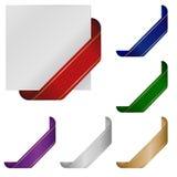 Nastri d'angolo in bianco in vari colori Fotografie Stock