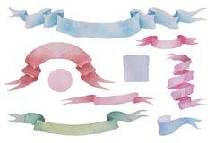 Nastri d'annata dell'acquerello messi Oggetti isolati disegnati a mano per il cerchio ed il quadrato romantici di waterclor di pr Immagini Stock
