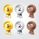 Nastri del premio con progettazione dell'illustrazione di numeri di posto Fotografia Stock