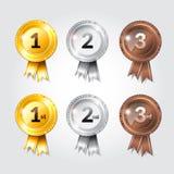 Nastri del premio con progettazione dell'illustrazione di numeri di posto Fotografia Stock Libera da Diritti