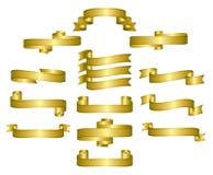 Nastri dell'oro, rotoli, bandiere Fotografia Stock Libera da Diritti