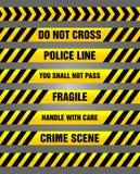 Nastri di cautela - gialli e modello d'avvertimento nero Fotografia Stock Libera da Diritti