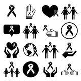 Nastri di consapevolezza con la gente, icone in bianco e nero messe illustrazione di stock