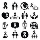 Nastri di consapevolezza con la gente - icone nere messe Fotografia Stock Libera da Diritti