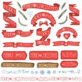 Nastri di Natale, distintivi, insieme della decorazione di inverno Fotografia Stock
