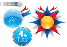 Nastri di vettore del 4 luglio molto adatti a Web site Immagine Stock