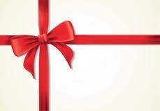 Nastri e cartolina d'auguri rossi, archi, ringraziamento Fotografie Stock