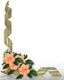 Nastri floreali dell'ibisco e dell'oro del bordo Immagini Stock Libere da Diritti