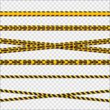 Nastri gialli e neri del pericolo Linee di cautela isolate Vettore Immagine Stock Libera da Diritti