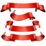 Nastri impostati Nastro rosso realistico della carta lucida Immagine Stock Libera da Diritti