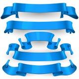 Nastri lucidi blu di vettore messi Immagini Stock
