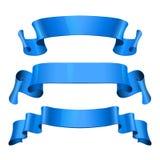 Nastri lucidi blu di vettore messi Immagini Stock Libere da Diritti