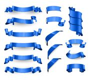 Nastri lucidi blu realistici di vettore Grande insieme royalty illustrazione gratis