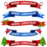 Nastri o insegne di Buon Natale messi Immagini Stock