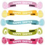 Nastri o insegne felici di Pasqua messi Fotografia Stock
