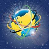 Nastri olimpici intorno al pianeta Earth.Vector Illu Fotografia Stock