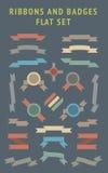 Nastri piani e distintivi di colore messi. Fotografie Stock