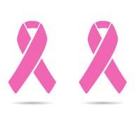 Nastri rosa con ombra due su fondo bianco Immagini Stock