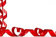 Nastri rossi del cuore Fotografia Stock