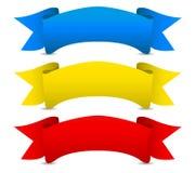 Nastri rossi gialli blu di vettore - faccia scorrere le insegne Fotografia Stock Libera da Diritti