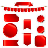 Nastri rossi messi isolati su fondo bianco Immagine Stock Libera da Diritti