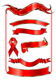Nastri rossi nella figura differente Fotografia Stock Libera da Diritti