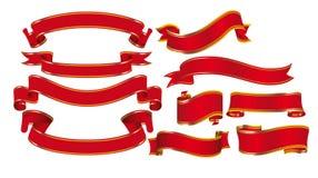 Nastri rossi in ornamento dell'oro Immagini Stock Libere da Diritti